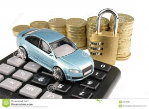 A picture of a car on a calculator with money and a lock in the background.