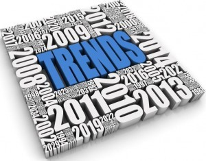 Picture of the word trends in blue with different years around it in white.